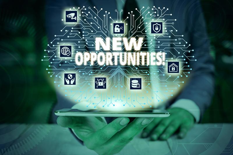 Writing note showing New Opportunities. Business photo showcasing exchange views condition favorable for attainment goal. Writing note showing New Opportunities stock image