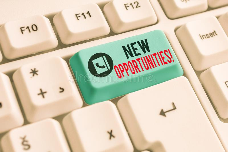 Writing note showing New Opportunities. Business photo showcasing exchange views condition favorable for attainment goal. Writing note showing New Opportunities stock photography