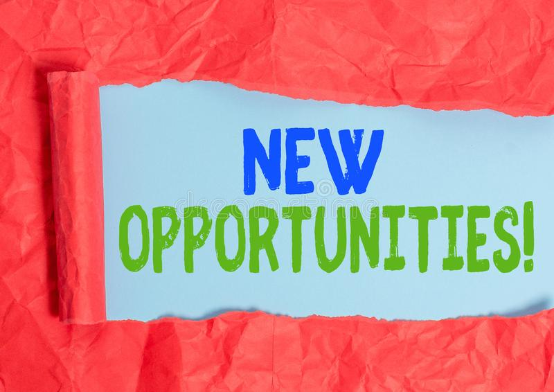 Writing note showing New Opportunities. Business photo showcasing exchange views condition favorable for attainment goal. Writing note showing New Opportunities royalty free stock photo
