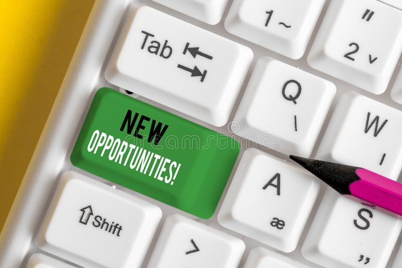 Writing note showing New Opportunities. Business photo showcasing exchange views condition favorable for attainment goal White pc. Writing note showing New royalty free stock photo