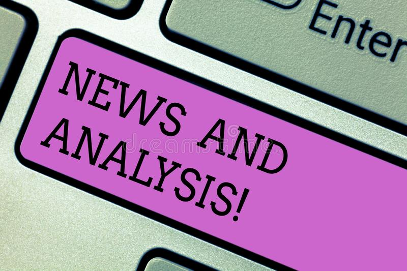 Writing note showing News And Analysis. Business photo showcasing measurement of various qualitative and quantitative royalty free stock image