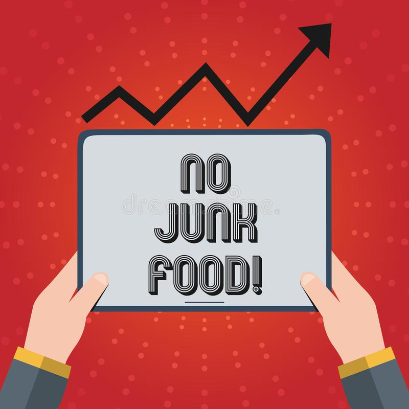 Writing note showing No Junk Food. Business photo showcasing Stop eating unhealthy things go on a diet give up burgers royalty free illustration