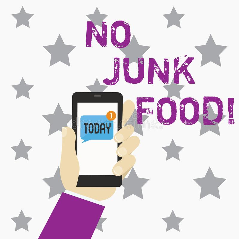 Writing note showing No Junk Food. Business photo showcasing Stop eating unhealthy things go on a diet give up burgers vector illustration