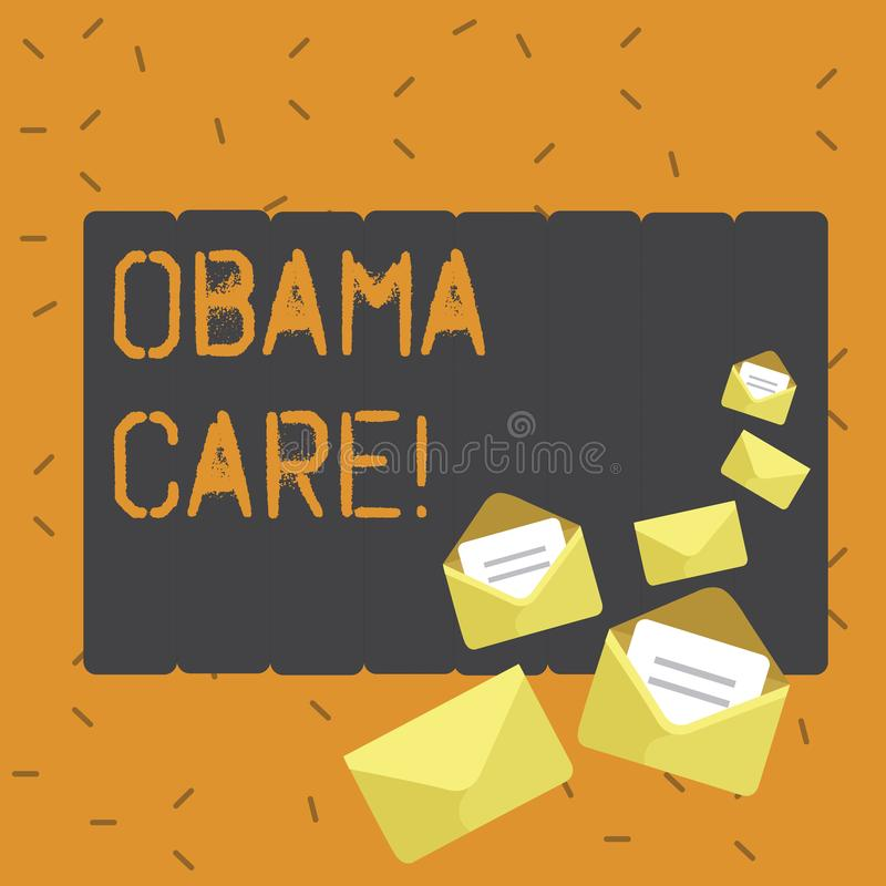Writing note showing Obama Care. Business photo showcasing Government Program of Insurance System Patient Protection. Writing note showing Obama Care. Business vector illustration