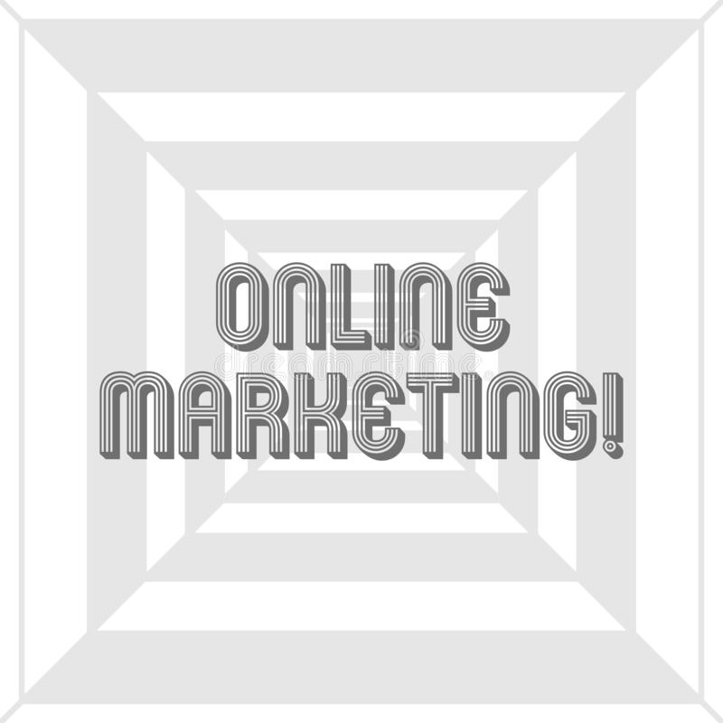 Writing note showing Online Marketing. Business photo showcasing leveraging web based channels spread about companys royalty free illustration