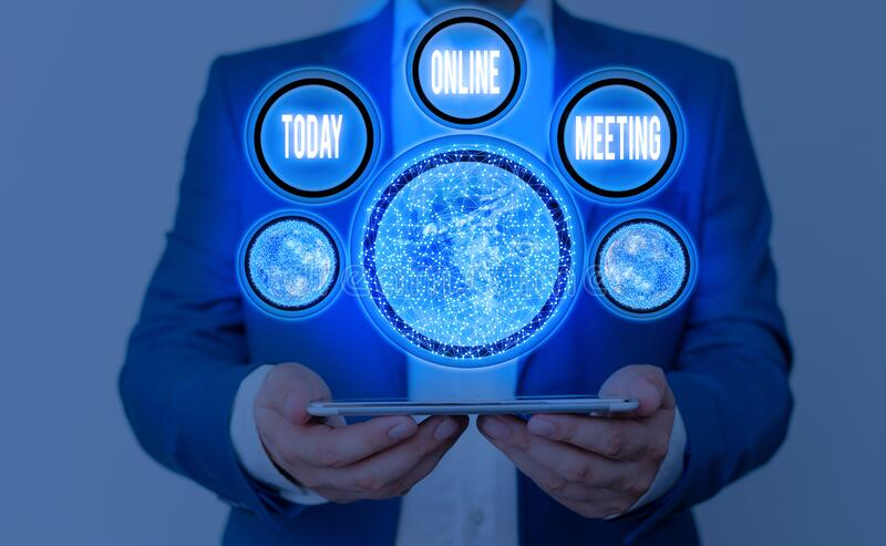 Writing note showing Online Meeting. Business photo showcasing a meeting that takes place over an electronic medium. Writing note showing Online Meeting stock image