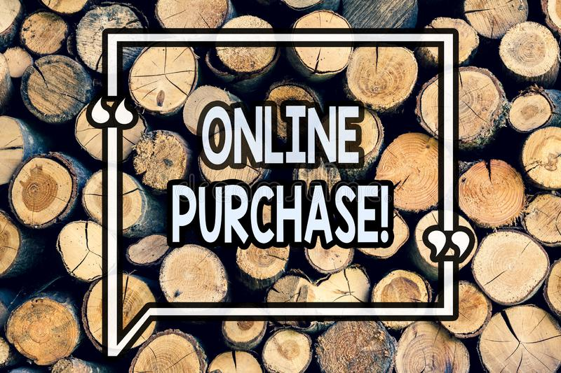 Writing note showing Online Purchase. Business photo showcasing Buy things on the net Go shopping without leaving home Wooden. Background vintage wood wild royalty free stock photography