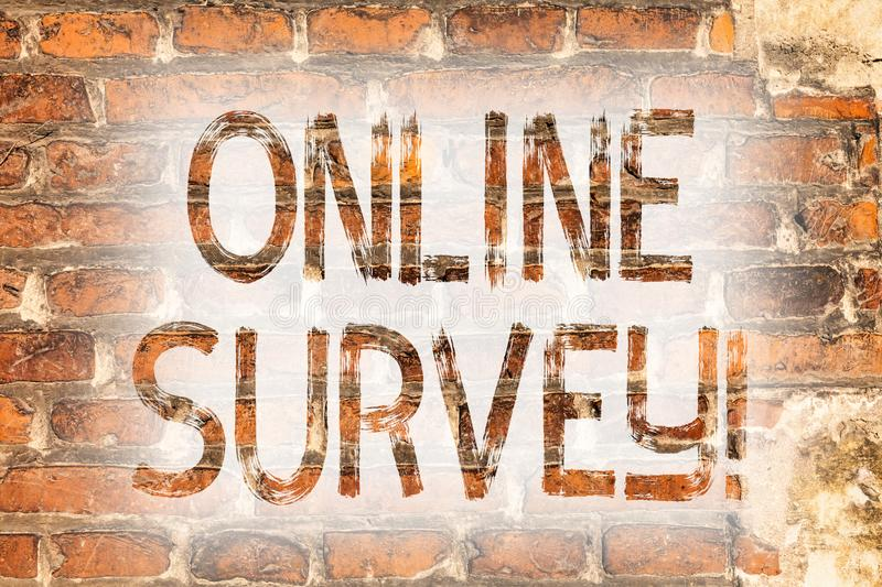 Writing note showing Online Survey. Business photo showcasing Digital Media Poll Customer Feedback Opinions Questionnaire Brick. Wall art like Graffiti stock photo