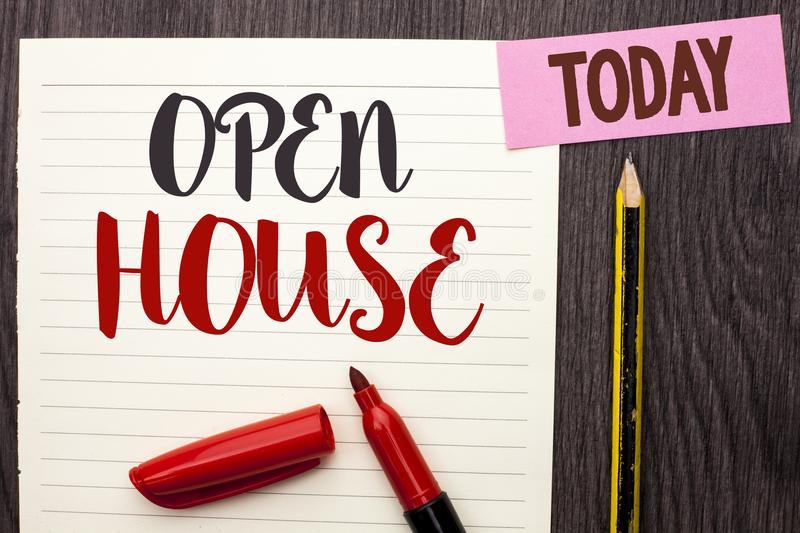 Writing note showing Open House. Business photo showcasing Home Property Residential Interior Exterior Building Apartment written. Notebook Paper the Wooden stock images