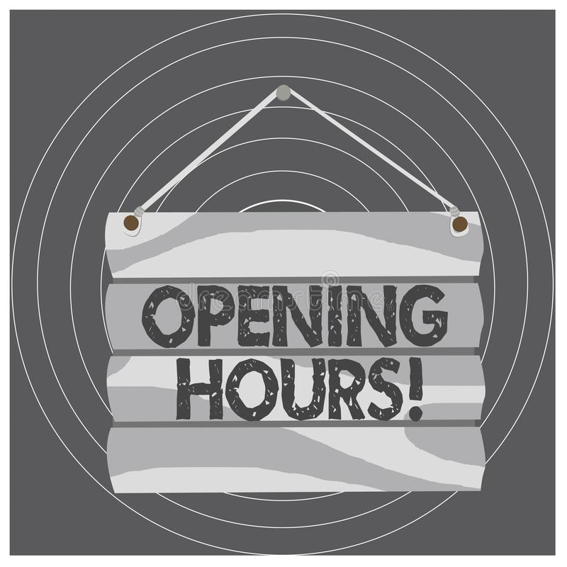 Writing note showing Opening Hours. Business photo showcasing the time during which a business is open for customers. Writing note showing Opening Hours vector illustration
