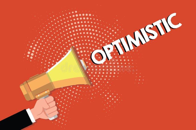 Writing note showing Optimistic. Business photo showcasing Hopeful and confident about the future Positive thinking.  stock illustration