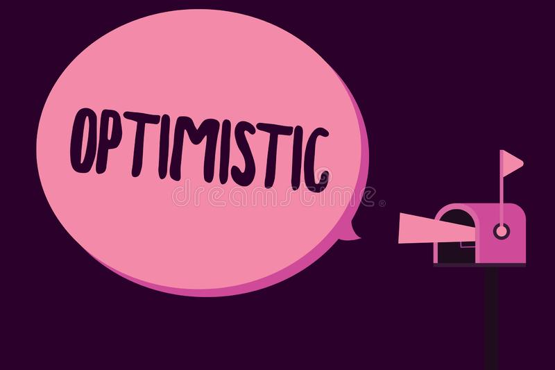 Writing note showing Optimistic. Business photo showcasing Hopeful and confident about the future Positive thinking.  vector illustration