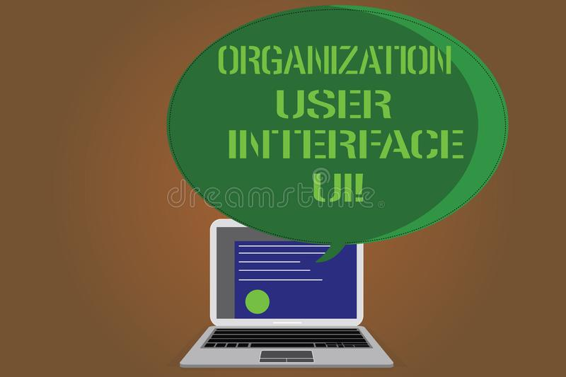 Writing note showing Organization User Interface Ui. Business photo showcasing Online Website analysisagement strategies. Certificate Layout on Laptop Screen stock illustration