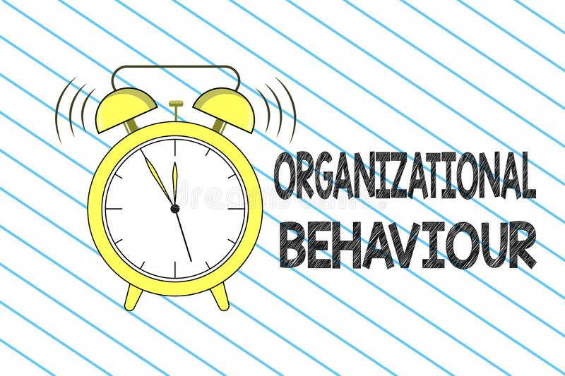 Writing note showing Organizational Behaviour. Business photo showcasing the study of the way people interact within. Groups vector illustration