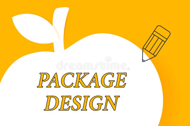 Writing note showing Package Design. Business photo showcasing Strategy in creating unique product wrapping or container stock illustration