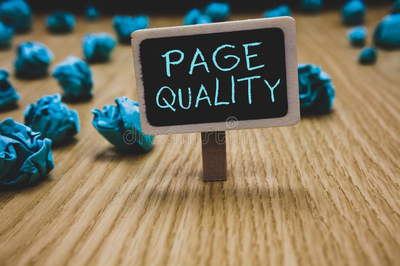 Writing note showing Page Quality. Business photo showcasing Effectiveness of a website in terms of appearance and function Blackb. Oard crumpled papers several royalty free stock photos