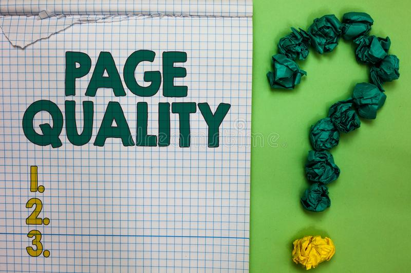 Writing note showing Page Quality. Business photo showcasing Effectiveness of a website in terms of appearance and function Square. Notebook crumpled papers stock images