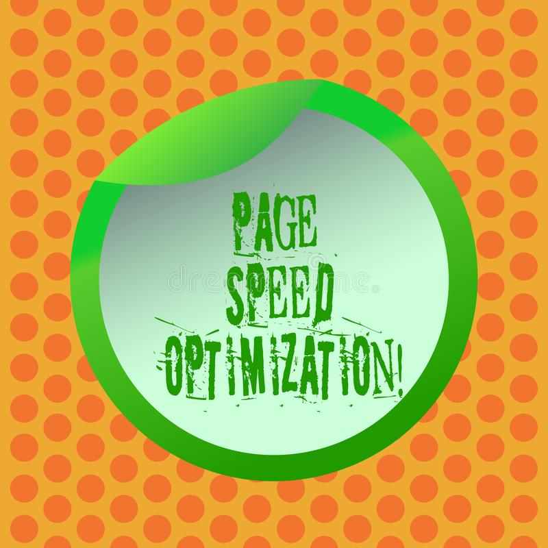 Writing note showing Page Speed Optimization. Business photo showcasing Improve the speed of content loading in a. Webpage Bottle Packaging Lid Carton Container stock illustration