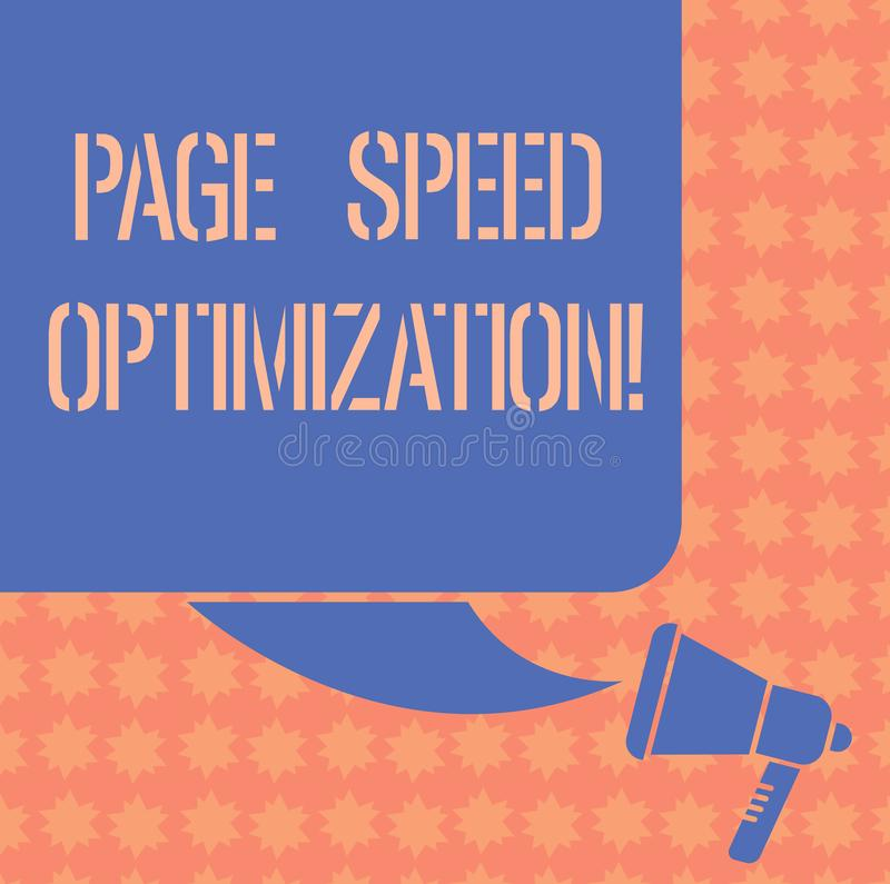 Writing note showing Page Speed Optimization. Business photo showcasing Improve the speed of content loading in a. Webpage Color Silhouette of Blank Square royalty free illustration