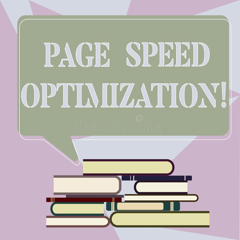 Writing note showing Page Speed Optimization. Business photo showcasing Improve the speed of content loading in a. Webpage Uneven Pile of Hardbound Books and royalty free illustration