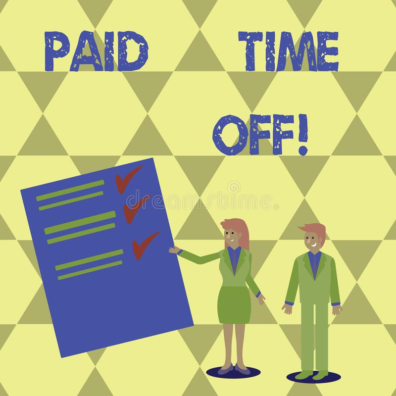 Writing note showing Paid Time Off. Business photo showcasing vacation with full payment take vacation Resting Healing. Writing note showing Paid Time Off royalty free illustration