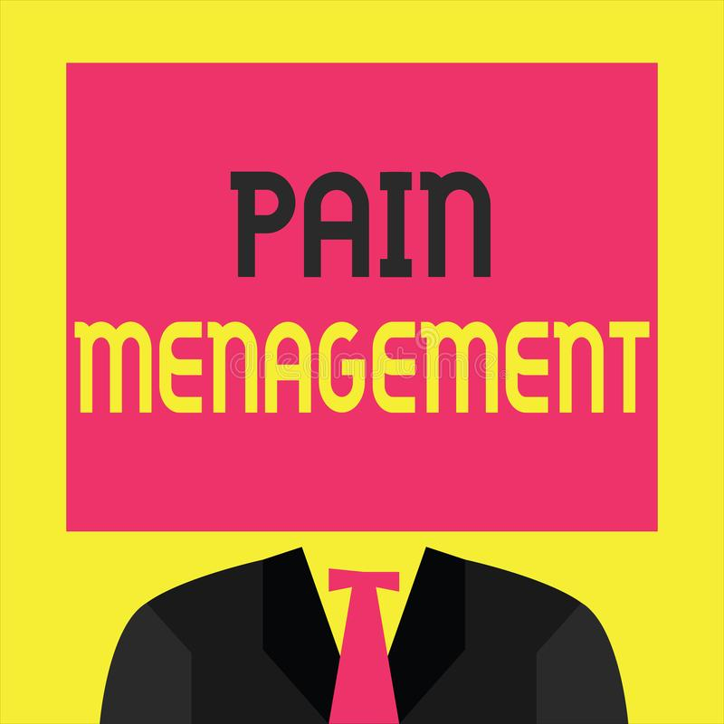 Writing note showing Pain Management. Business photo showcasing a branch of medicine employing an interdisciplinary approach stock illustration