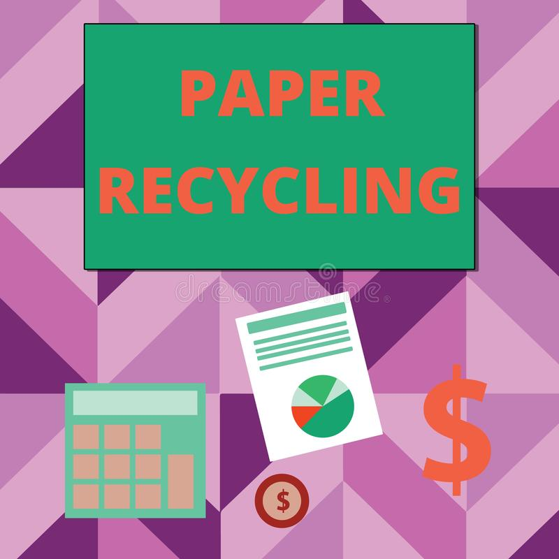 Writing note showing Paper Recycling. Business photo showcasing Using the waste papers in a new way by recycling them. Writing note showing Paper Recycling royalty free illustration