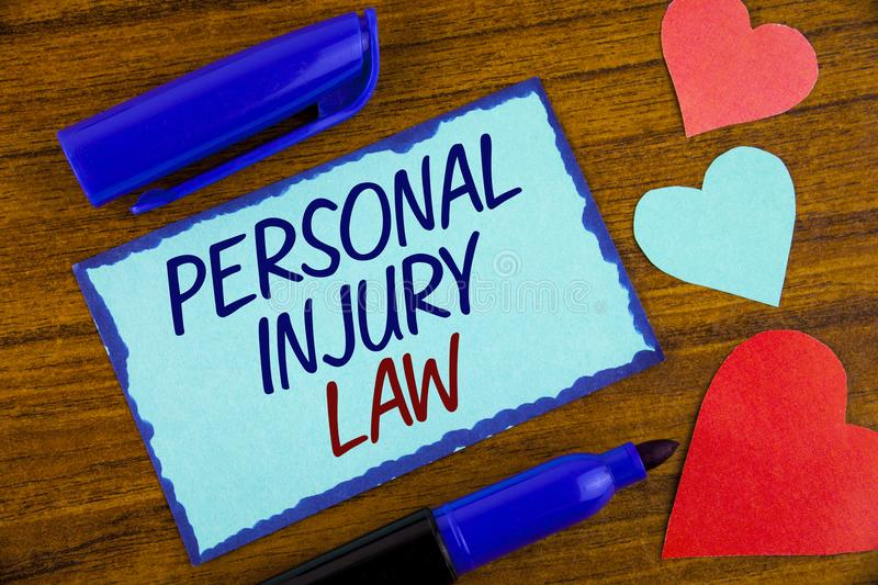 Writing note showing Personal Injury Law. Business photo showcasing guarantee your rights in case of hazards or risks written on. Writing note showing Personal stock images