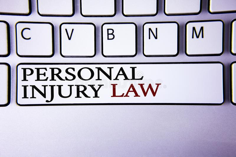 Writing note showing Personal Injury Law. Business photo showcasing guarantee your rights in case of hazards or risks written on. Writing note showing Personal stock photo