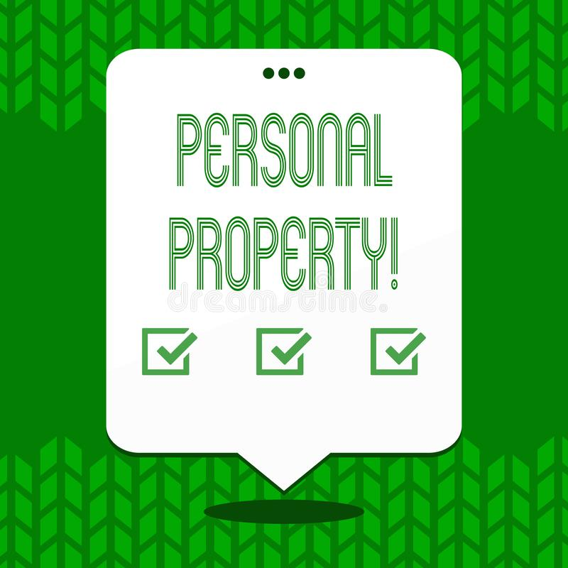 Writing note showing Personal Property. Business photo showcasing Belongings possessions assets private individual owner.  royalty free illustration