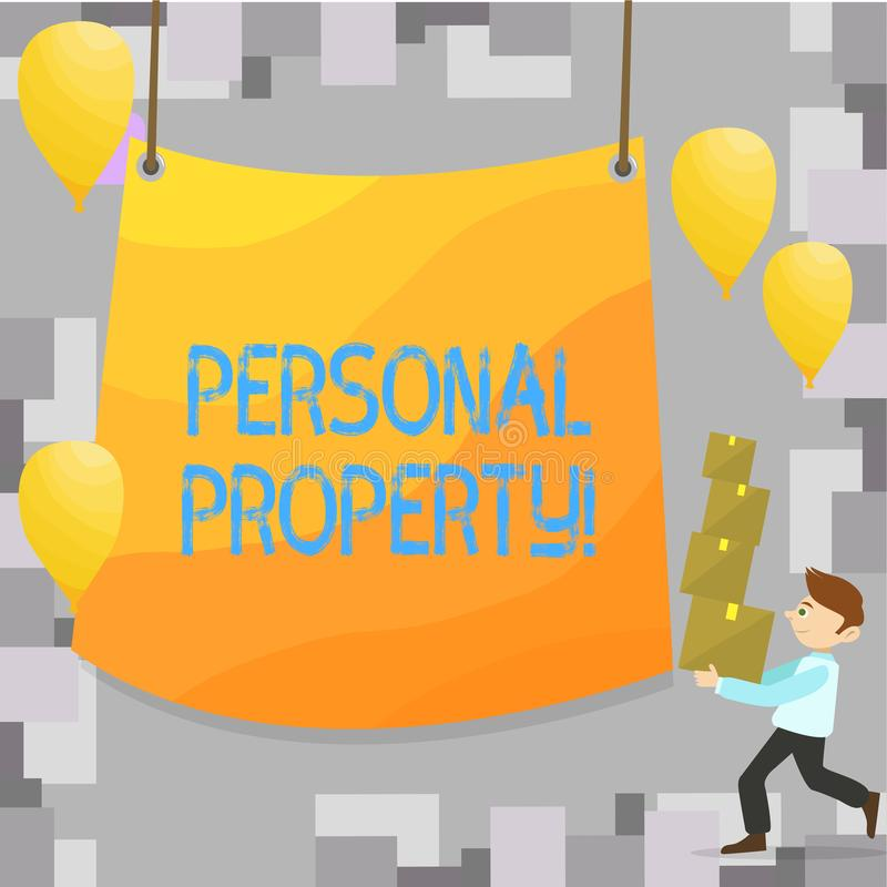 Writing note showing Personal Property. Business photo showcasing Belongings possessions assets private individual owner.  vector illustration
