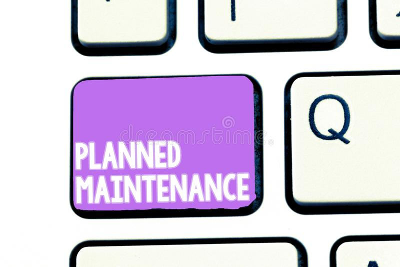 Writing note showing Planned Maintenance. Business photo showcasing Check ups to be done Scheduled on a Regular Basis.  stock image