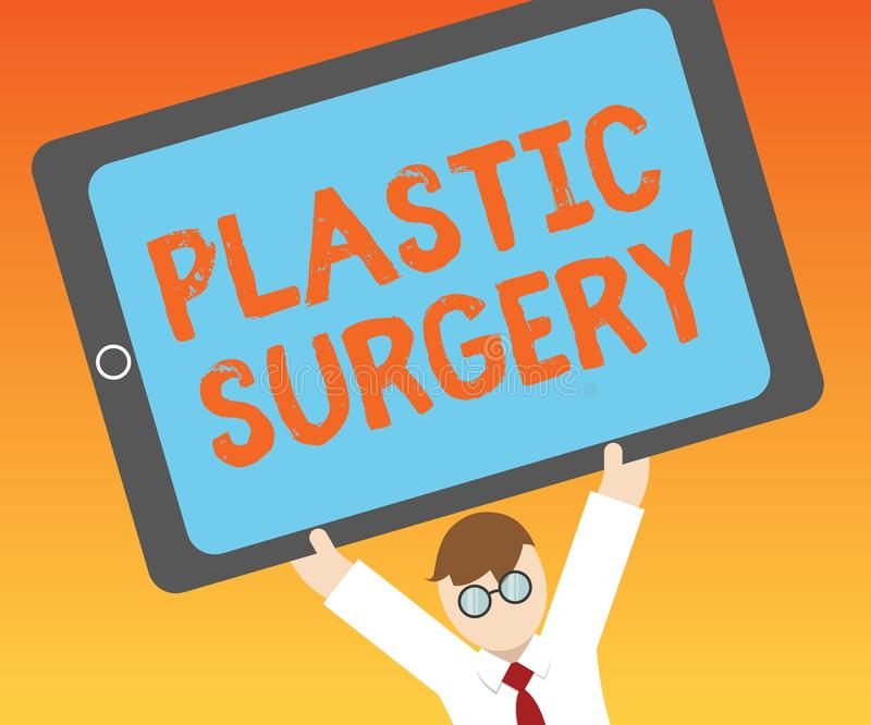 Writing note showing Plastic Surgery. Business photo showcasing Process of reconstructing or repairing parts of the body.  royalty free illustration