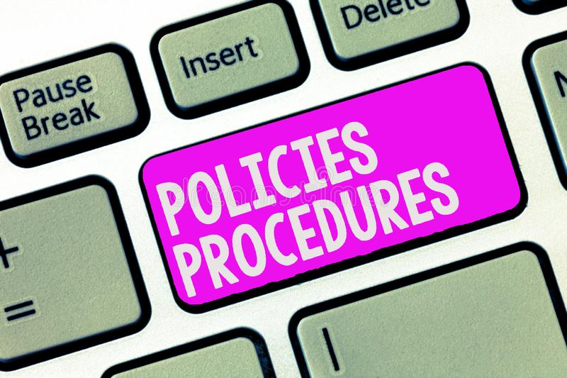 Writing note showing Policies Procedures. Business photo showcasing Influence Major Decisions and Actions Rules stock images