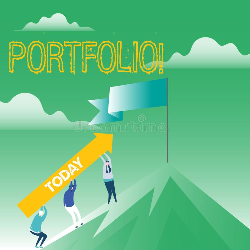Writing note showing Portfolio. Business photo showcasing Examples of work used to apply for a job Combination of shares.  stock illustration