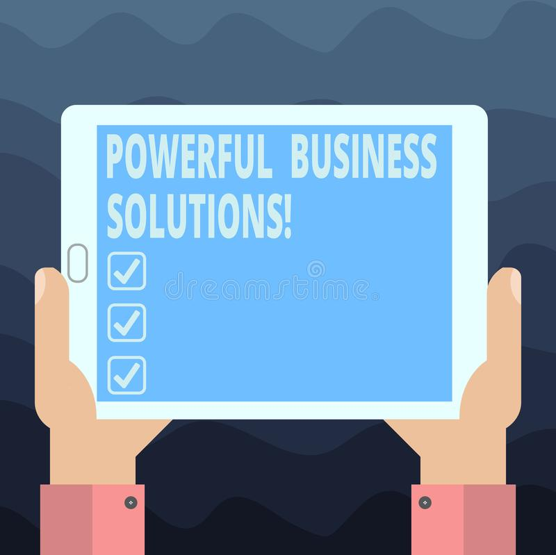Writing note showing Powerful Business Solutions. Business photo showcasing ideas used to help a company achieve its goals Hu. Analysis Hand Holding Tablet royalty free stock images