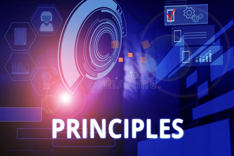 Writing note showing Principles. Business photo showcasing fundamental truth that serves as the base for a system of. Writing note showing Principles. Business stock photography