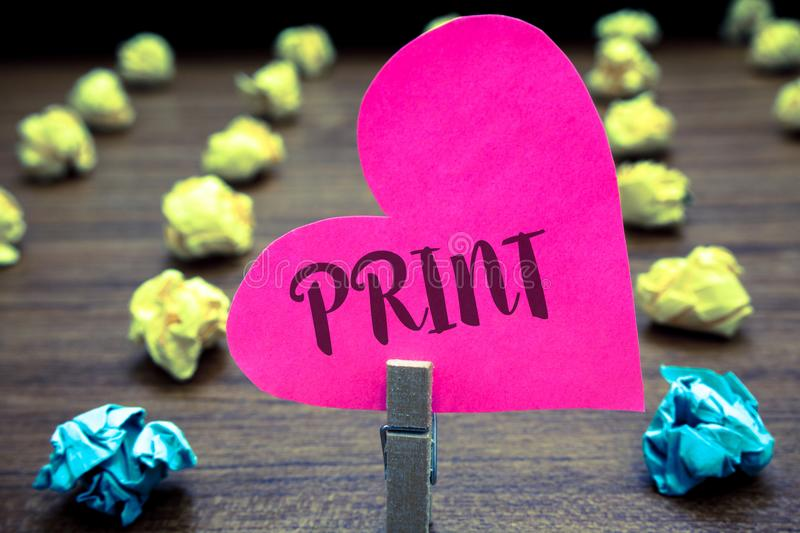 Writing note showing Print. Business photo showcasing Produce letter numbers symbols on paper by machine using ink or toner Paper. Objects thoughts hart stock images