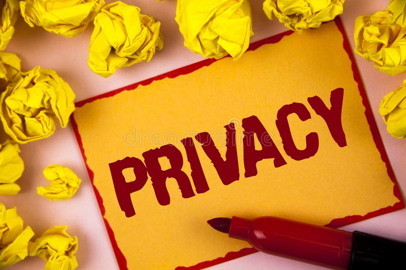 Writing note showing Privacy. Business photo showcasing Right to keep personal matters and information as a secret written on Sti stock image