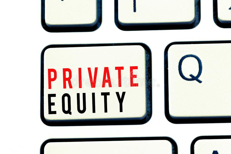 Writing note showing Private Equity. Business photo showcasing Capital that is not listed on a public exchange Investments.  royalty free stock photography