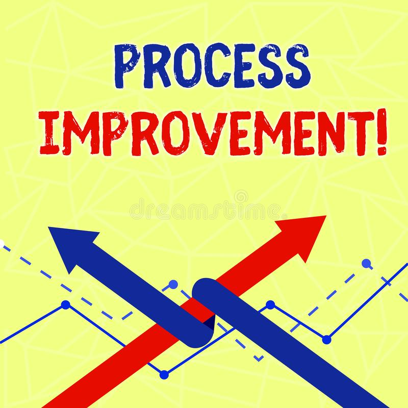 Writing note showing Process Improvement. Business photo showcasing ongoing effort to improve products services or. Writing note showing Process Improvement stock illustration