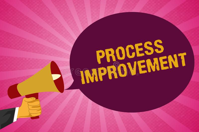 Writing note showing Process Improvement. Business photo showcasing Optimization Meet New Quotas Standard of Quality.  stock illustration