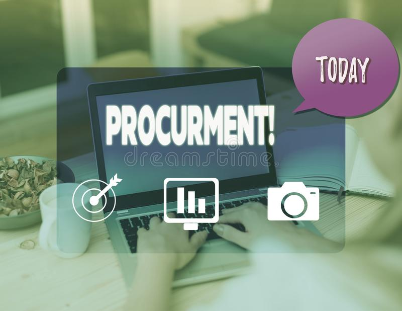 Writing note showing Procurment. Business photo showcasing action of acquiring military equipment and supplies. Writing note showing Procurment. Business stock photos