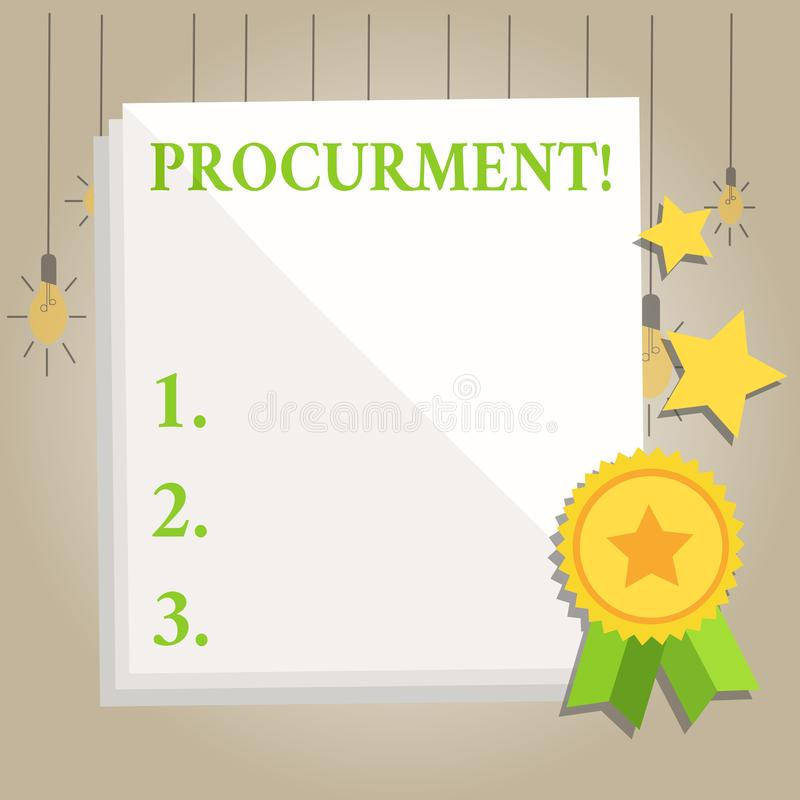 Writing note showing Procurment. Business photo showcasing action of acquiring military equipment and supplies White vector illustration