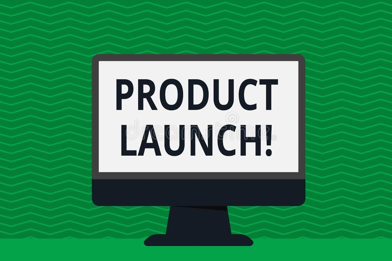 Writing note showing Product Launch. Business photo showcasing when company decides to release new product in market. Writing note showing Product Launch royalty free illustration