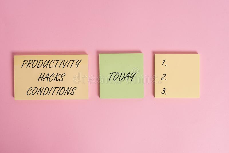 Writing note showing Productivity Hacks. Business photo showcasing tricks that you get more done in the same amount of. Writing note showing Productivity Hacks royalty free stock photography