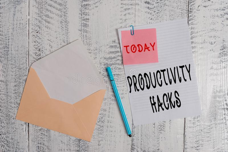 Writing note showing Productivity Hacks. Business photo showcasing tricks that you get more done in the same amount of. Writing note showing Productivity Hacks stock photography