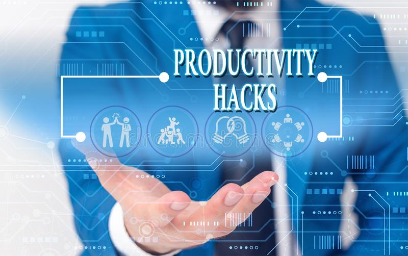 Writing note showing Productivity Hacks. Business photo showcasing tricks that you get more done in the same amount of. Writing note showing Productivity Hacks stock images