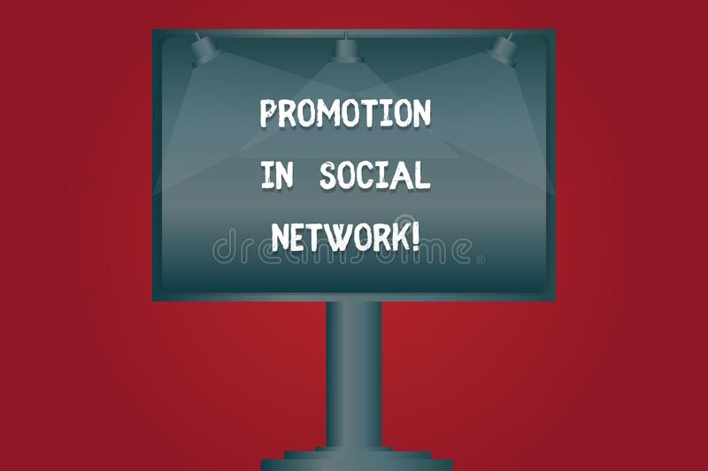Writing note showing Promotion In Social Network. Business photo showcasing Internet online marketing advertising stock illustration