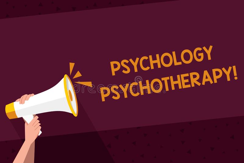 Writing note showing Psychology Psychotherapy. Business photo showcasing treatment of mental disorder by psychological. Writing note showing Psychology vector illustration